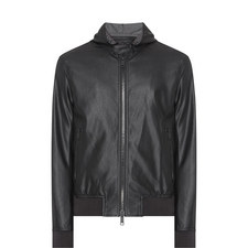 Hooded Faux Leather Bomber Jacket
