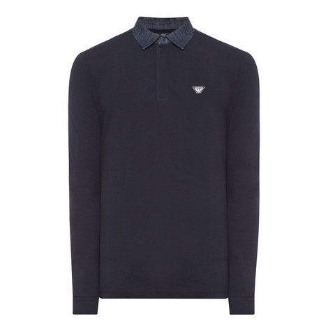 Contrast Collar Long-Sleeved Polo Shirt, ${color}