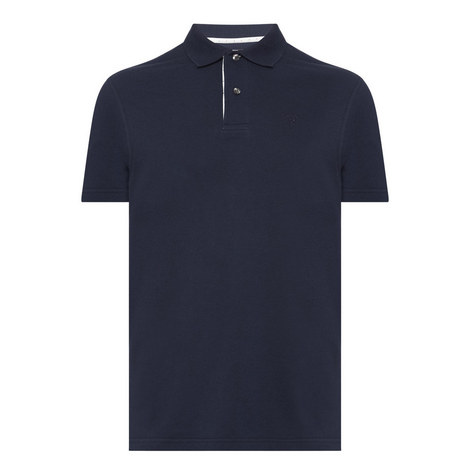 Polka Dot Trim Polo Shirt , ${color}