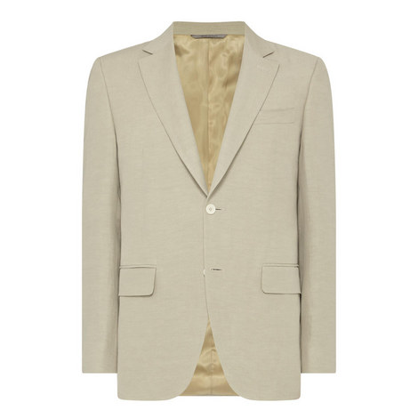 Single-Breasted Linen Blazer, ${color}