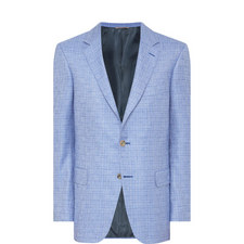 Silk-Cashmere Check Blazer