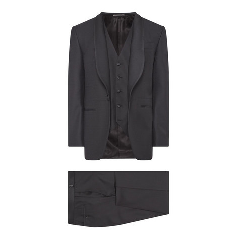 Canali's Jacquard Three-Piece Suit, ${color}