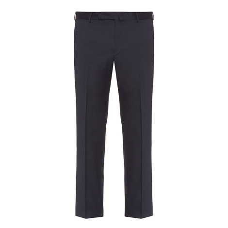 Straight Fit Wool Twill Trousers, ${color}