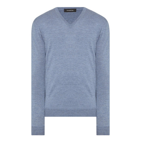 Wool-Cashmere V-Neck Sweater, ${color}