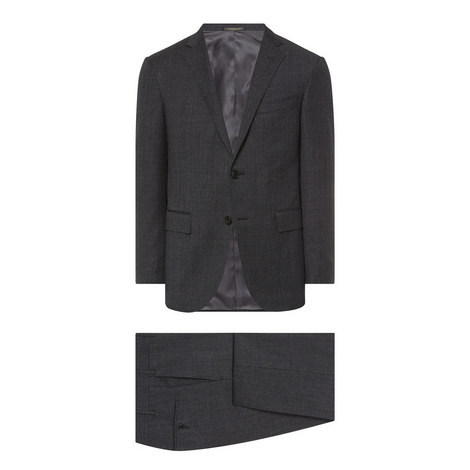 2 Piece Melange Wool Suit, ${color}