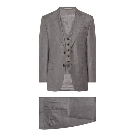 3 Piece Sharkskin Wool Suit, ${color}