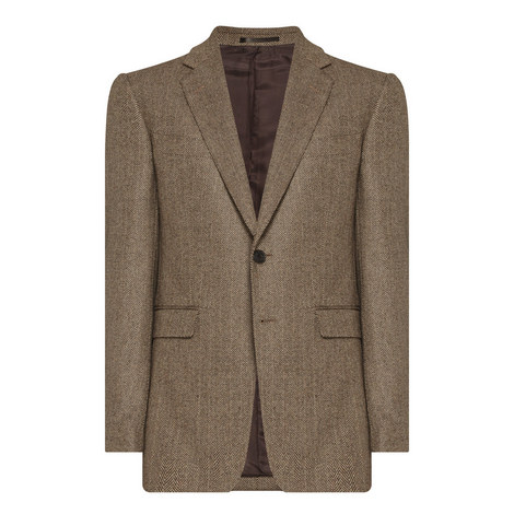 Herringbone Cashmere Blazer, ${color}