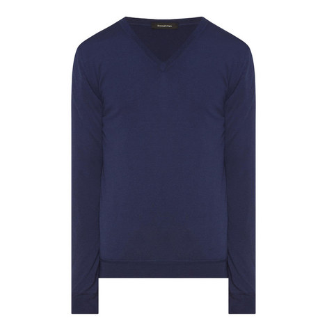 V-Neck Knitted Sweater, ${color}