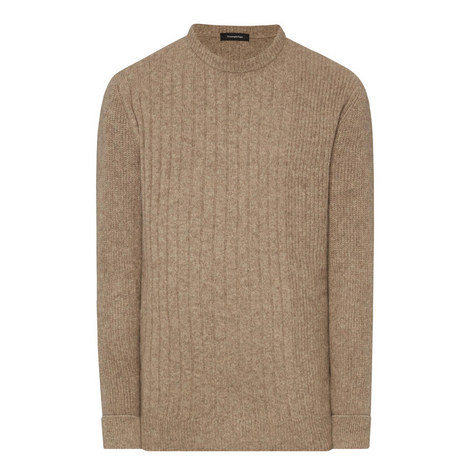 Crew Neck Ribbed Knitted Sweater, ${color}
