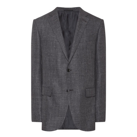 Single-Breasted Herringbone Jacket, ${color}