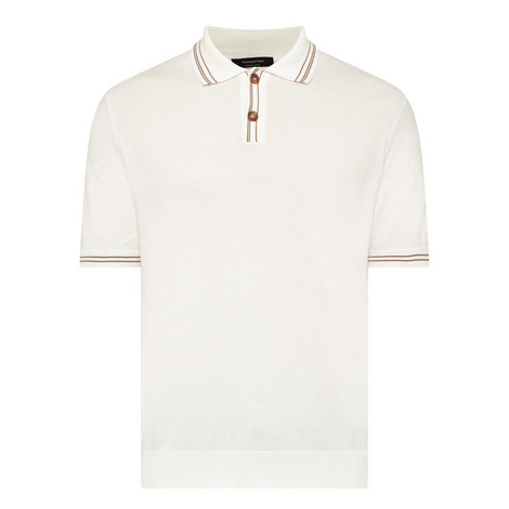 Stripe Trim Polo Shirt, ${color}