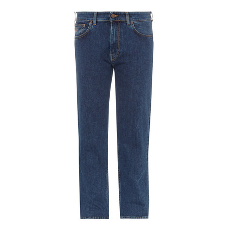 Straight Leg Stretch-Cotton Jeans, ${color}