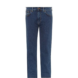 Straight Leg Stretch-Cotton Jeans