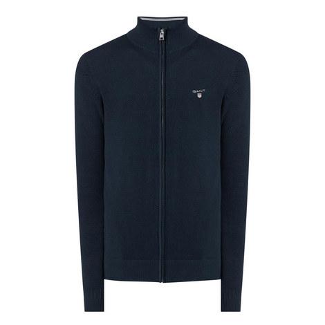 Zip-Through Piqué Cotton Sweater, ${color}
