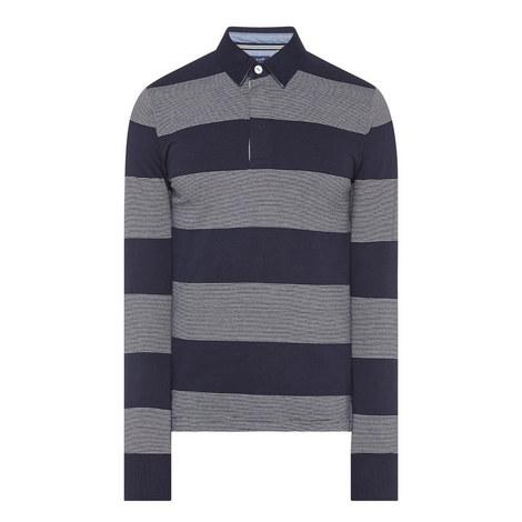 Stripe Long Sleeve Polo Shirt, ${color}