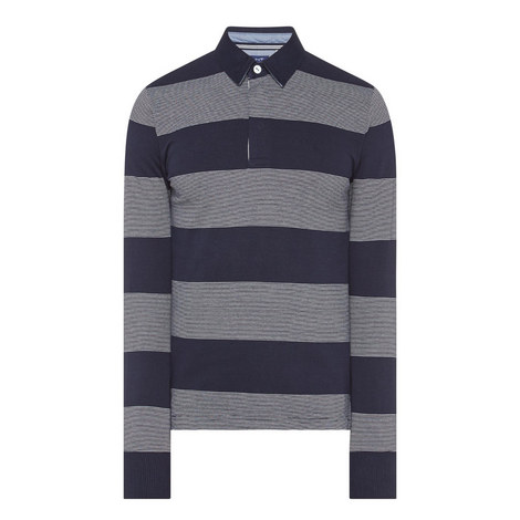 Stripe Long Sleeve Polo Shirt, ${color}