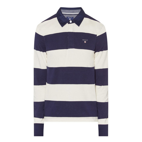 Striped Long-Sleeved Rugby Top, ${color}