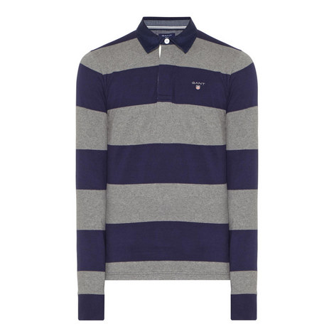 Long-Sleeved Stripe Polo Shirt, ${color}