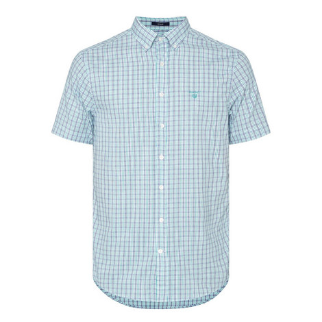 Short-Sleeved Oxford Check Shirt, ${color}