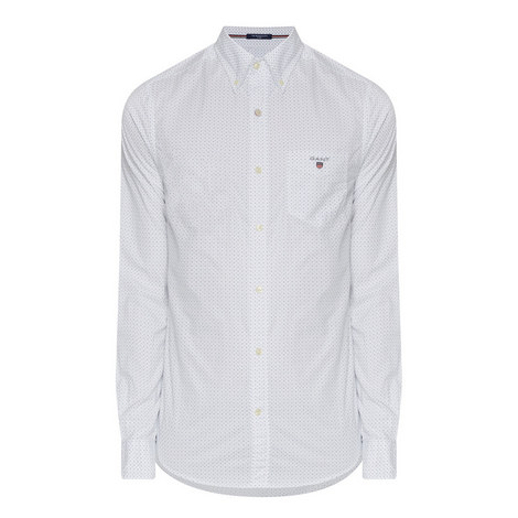 Fitted Dot Print Shirt, ${color}