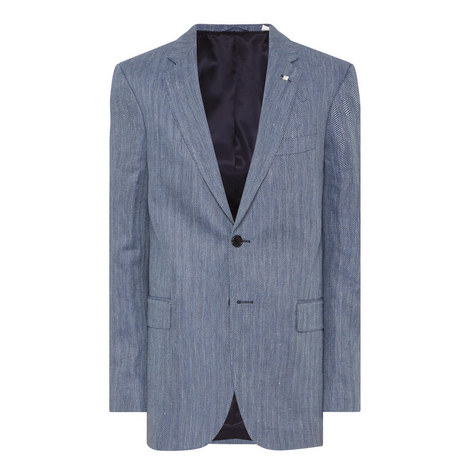 Herringbone Linen Blazer , ${color}