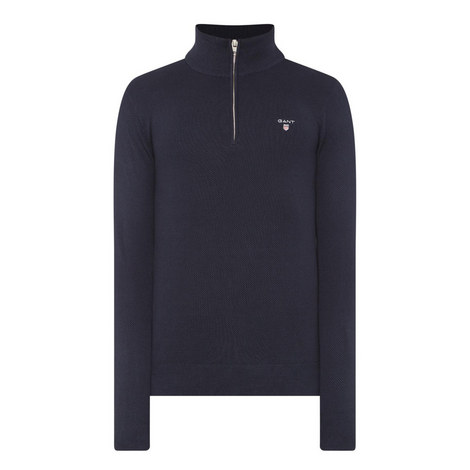 Piqué Half-Zip Sweater, ${color}