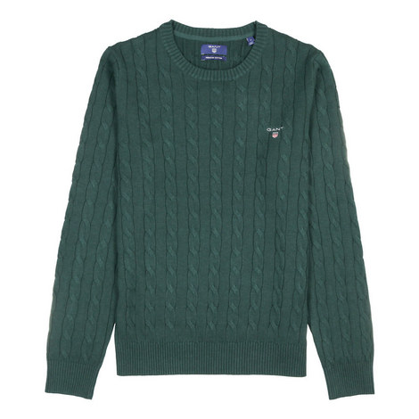 Crew Neck Cable Sweater, ${color}