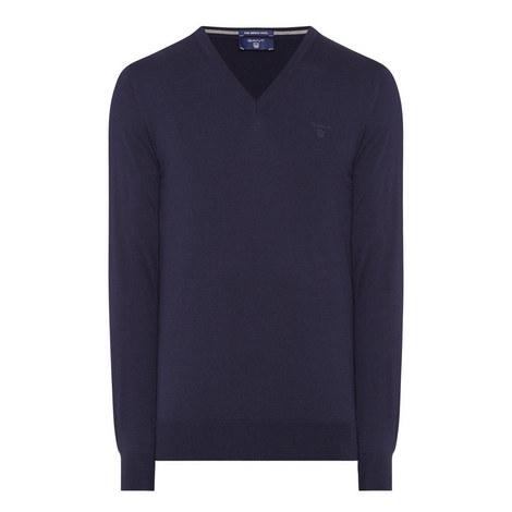 Fine Merino Wool V-Neck Sweater, ${color}