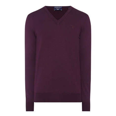 Fine Merino Wool V-Neck Sweater, ${color}