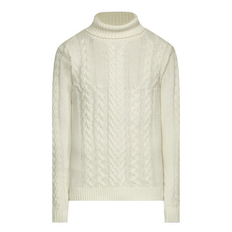 Cable Knit Polo Neck Sweater, ${color}