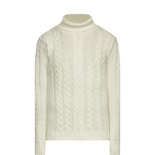 Cable Knit Polo Neck Sweater