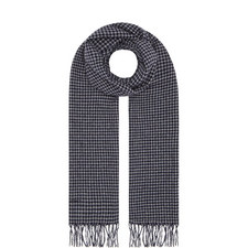 Houndstooth Patterned Wool Scarf