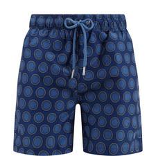 Dot Circle Print Swim Shorts