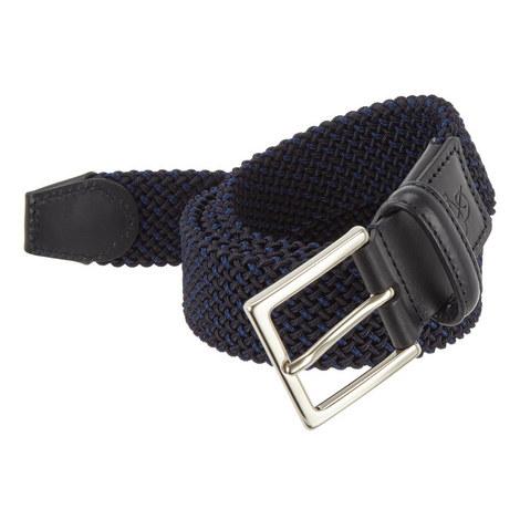 Woven Leather Trim Belt, ${color}