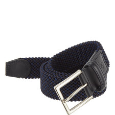 Woven Leather Trim Belt