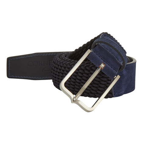 Suede-Trimmed Woven Belt, ${color}