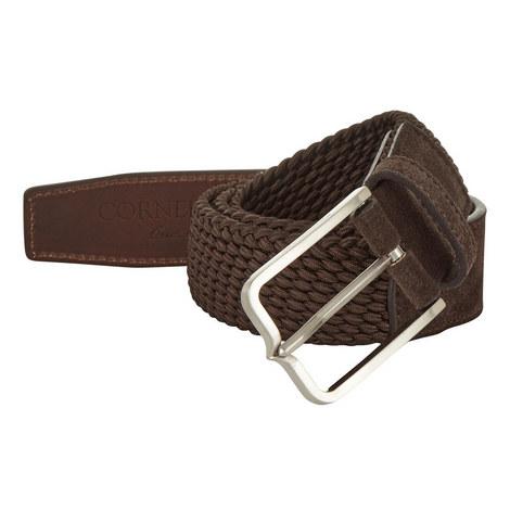 Suede-Trimmed Woven Belt, ${color}
