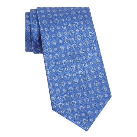 Floral Pattern Silk Tie, ${color}