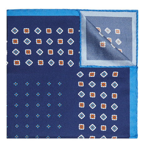 Geometric Floral Pattern Pocket Square, ${color}