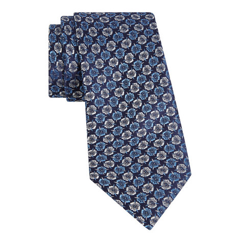 Floral Print Silk Tie, ${color}