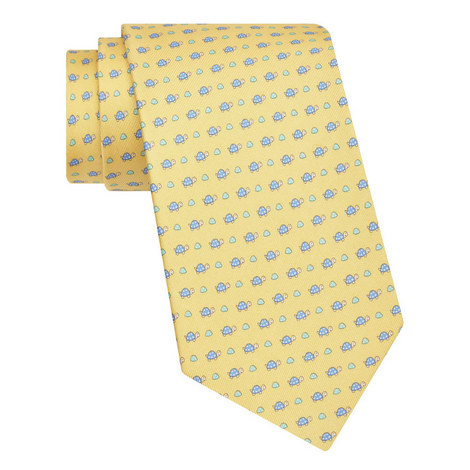 Turtle Print Silk Tie, ${color}