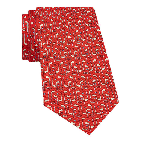 Music Note Print Silk Tie, ${color}