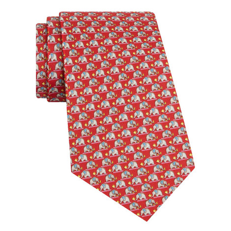 Elephant Print Silk Tie, ${color}