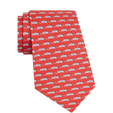 Boat Print Silk Tie