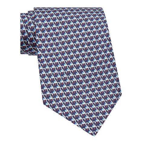 Swan Print Silk Tie, ${color}