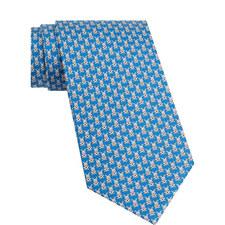 Bunny Print Silk Tie