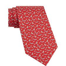 Dog Print Silk Tie