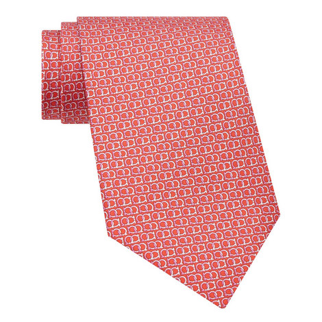 Gancini Print Silk Tie, ${color}