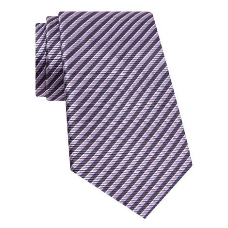Diagonal Stripe Silk Tie, ${color}