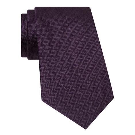 Herringbone Pattern Silk Tie, ${color}